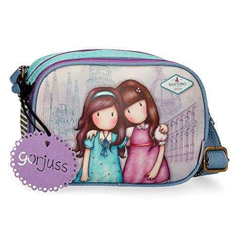 Santoro Gorjuss Friends Walk Together Bandolera con Solapa Morado 23x20,5x8,5 cms Piel Sintética