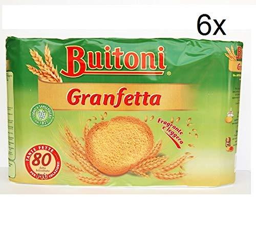 6x Buitoni Granfetta Fette Biscottate 80 fette Zwieback duftend und leicht Kekse 600g
