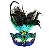 Womens Peacock Feather Mask for Masquerade Costume Party Halloween Cosplay Accessory Blue