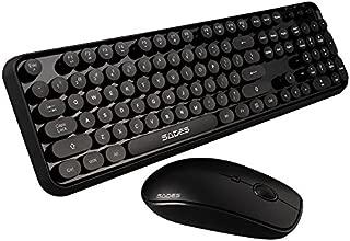SADES Keyboard and Mouse Sets, V2020 Round Retro Style Key Cap Wireless Keyboard and Mouse Sets