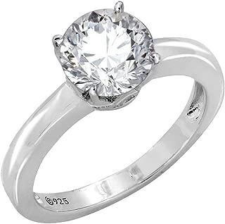 2 ct Swarovski Zirconia Round Solitaire Ring, Platinum-Plated Sterling Silver