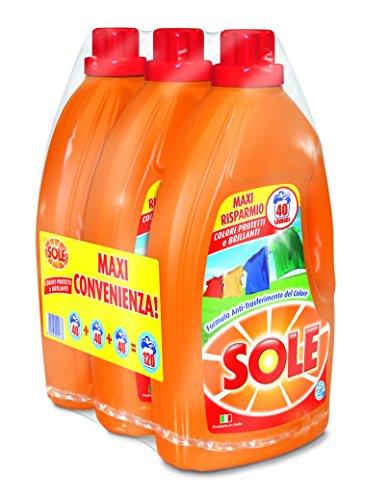 Sole Colori Protetti Detersivo Lavatrice Liquido, Pacco da 3 x 40 Misurini, 120 Misurini