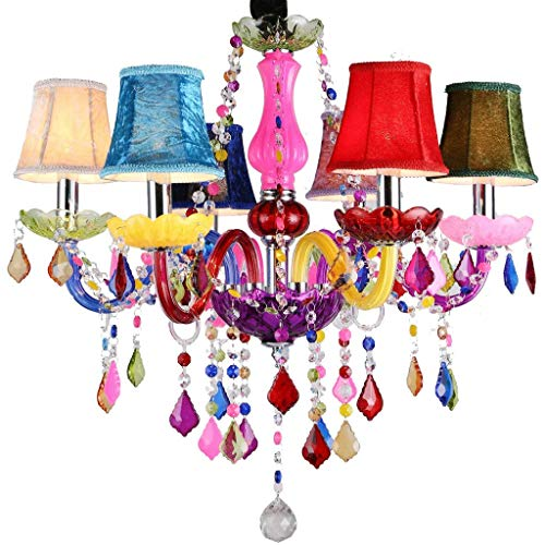 CHNOI Luz de Techo de la lámpara de iluminación Pendiente de la Vendimia cristalina clásica Chandelier- luz de la lámpara con Pantalla for el Dormitorio Sala - Tipo de Luces de Colores