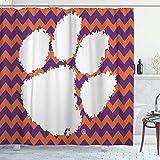 BYJHMB Shower Curtain Set with 12 Hooks,Football Clemson University Tiger South Carolina Territory Power Basketball,Machine Washable,72' X 72'