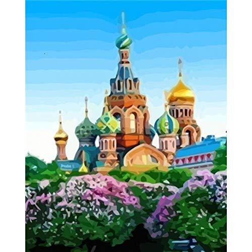 SUNFFFW® Volwassen Olieverfschilderij Op Nummer Sint-Petersburg Diy Unframe Handbeschilderd Cadeau Tekening Op Nummer Landschap Woondecoratie