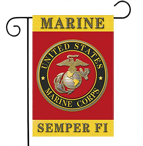 US MILITARY Marine Corps USMC Semper Fi Flag Double-Sided Lawn Decoration Gift House Garden Yard Banner United State American Military Veteran, 12' x 18.5 Made in USA