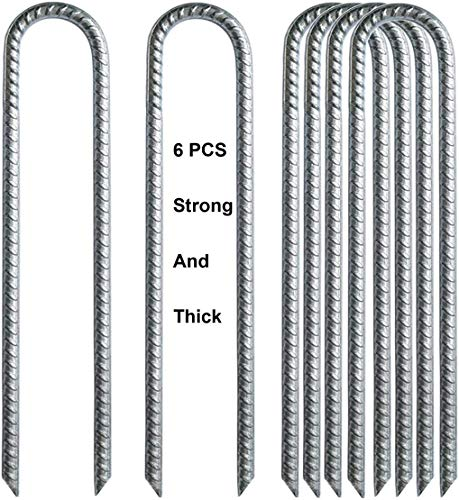 IME Ground Rebar Stakes Garden Staples Tent Nails Galvanized Steel U Pegs Gardening Anchors, Heavy Duty Landscape Pins for Camping Tents Trampoline Canopies Sheds Ports Swing Sets 12 inch 6pack