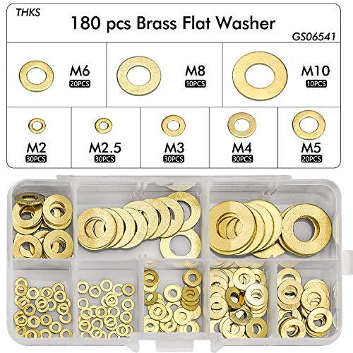 WEKON 180 Stück Messing Flach Unterlegscheiben 8 Größen Flach und Sicherungsscheiben Sortiment Set (M2 M2.5 M3 M4 M5 M6 M8 M10)