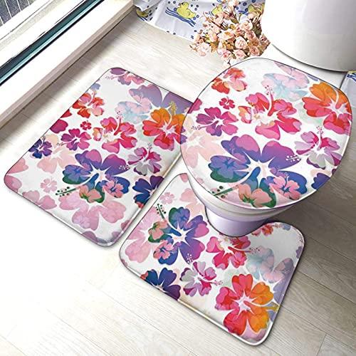 Juego de alfombras de baño de 3 piezas con estampado de flores hawaianas impresas, suaves absorbentes, antideslizantes, alfombrilla de baño, cubierta de tapa de inodoro