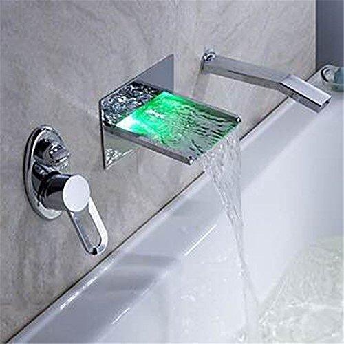 WasserhahnTap Cuivre matériel avec lumière LED 3 Jeux d'eau de Cascade cachés Chaud et Froid Bassin d'eau Robinet