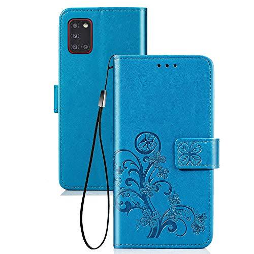TOPOFU Handyhülle für Samsung Galaxy A31 Hülle, Superdünne Premium Leder Tasche Hülle Flip Wallet Schutzhülle mit Ständer & Kartenfach für Samsung Galaxy A31 (Blau)
