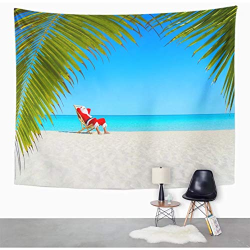 Tapestry Home Dormitory Wall Decoration Santa Claus Relaxing on Sunlounger at Ocean Sandy Tropical Beach Under Palm Leaves Happy New Tapestry Home Decor Wall