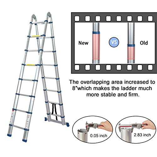 16.5 Ft Telescoping Ladder, Extension Ladder, A-Frame Portable Folding Ladder Aluminium Lightweight 330lb Load Capacity with Support Bar Anti-Slip
