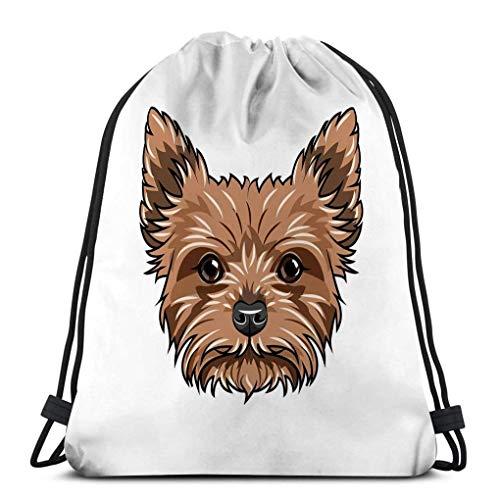 KKs-Shop Bolso con cordón para Yorkshire Terrier Retrato de Perro Bozal de Cabeza de Perro Raza de Yorkshire Terrier Retrato de Perro de Yorkshire Terrier Cabeza de Perro