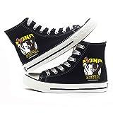 Zoyie Danganronpa Canvas Shoes High-Top Monokuma Sneakers Moda Casual Black and White Bear Trainers Trigger Happy Havoc Cosplay Zapatos de Lona Botines