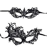 Honbay 2PCS Black Lace Masks for Masquerade...