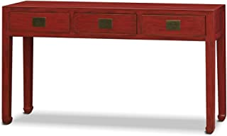 China Furniture Online Elmwood Console Table, Ming Style Cabinet Distressed Red Finish