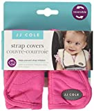 JJ Cole - Reversible Strap Covers, Seat Belt Cushion to Support Infants and Toddlers in the Car Seat or Stroller, Sassy Bright Pink Wave, Birth and Up