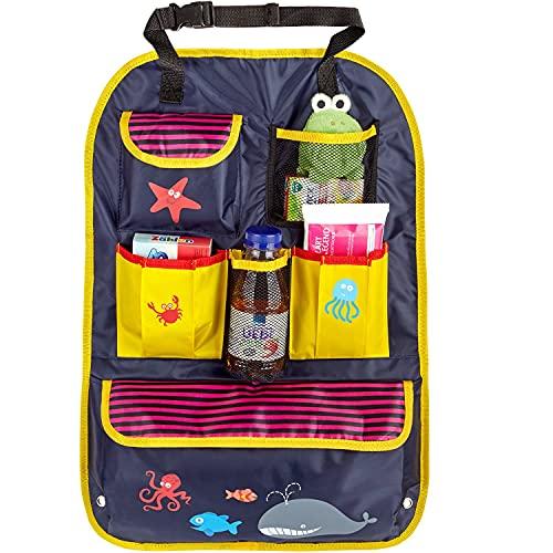 Rosei — Protector de respaldo para coche, estampado multicolor, con bolsillo para iPad/tablet de 12 pulgadas, soporte para mesa de comedor o tablet (C)