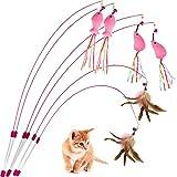 AIDIYA Juguete para Gato, Varita de Plumas, Gato, Juguete para Mascotas, Varita de Alambre con Pluma y Campana (6)
