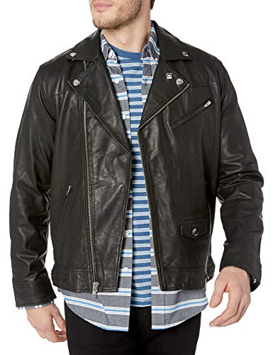 Obey Men's Bastards Leather Jacket, Black, Medium