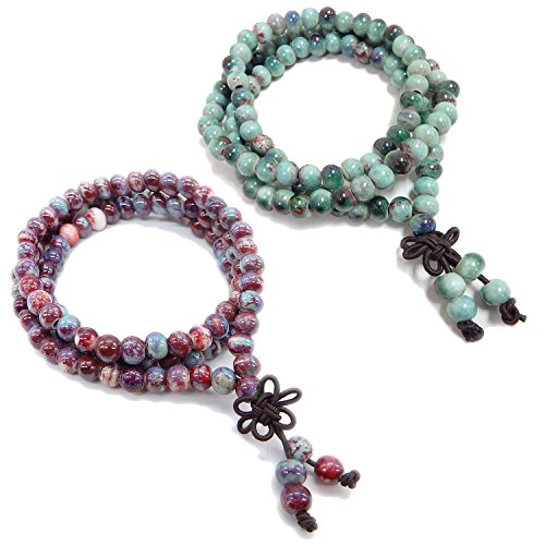 ALoveSoul 108 Meditation Buddhist Prayer Mala Beads Porcelain Beads Handmade Religious Bracelet (2 Pcs)