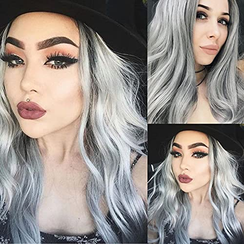 Silver Gray Wigs for Women Long Wavy Loose Curly Synthetic Soft Hair Wig Natural Looking Middle Part Body Wave Heat Resistant Fiber Friendly Synthetic Girl Daily Party Cosplay Halloween Costume Wig