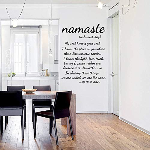 Namaste Wall Decal Quote Vinyl Sticker Decals Quotes Buddha Quote Decal We are One - Nah Mas Tay Wall Decor Bedroom Yoga Studio Decal