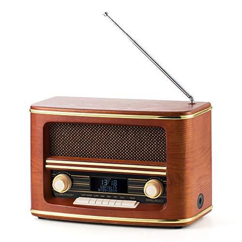 Radio Digital Dab+ / FM SHUMAN, Reloj con Pantalla LED Digital con Configuración de Alarma Dual, Función de Reposo, con Bluetooth / Conector Jack de 3,5 mm , para Dormitorio / Oficina (MC266)