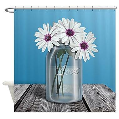 CafePress - White And Purple Daisy Mason Jar Blue Shower Curta - Decorative Fabric Shower Curtain (69 x70 )