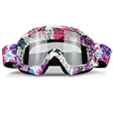 JAMIEWIN Clear Lens Dirt Bike Motorcycle Goggles ATV Racing Motocross Mx Goggle Glasses UV Protection for Men Women Youth Kids (Clear Lens)