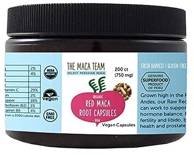 Red Maca Capsules - Raw, Certified Organic, Fresh Harvest From Peru, Fair Trade, Gmo-Free, Gluten Free And Vegan 750 Mg, 200 Ct by The Maca Team, LLC