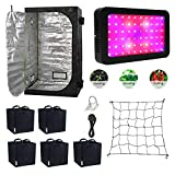 Gardeners Corner LED Grow Tent Kit with Full Spectrum 600w LED Grow Light Full Spectrum, Fabric Pots, Scrog...