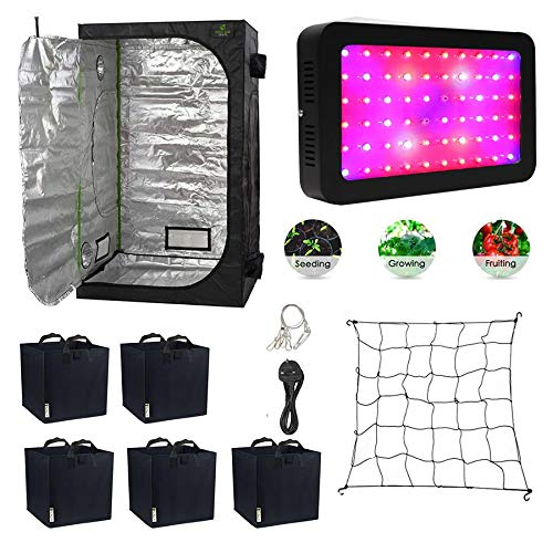 Gardeners Corner LED Grow Tent Kit with Full Spectrum 600w LED Grow Light Full Spectrum, Fabric Pots, Scrog Plant Support Net & 1.2x1.2x2m Grow Tent