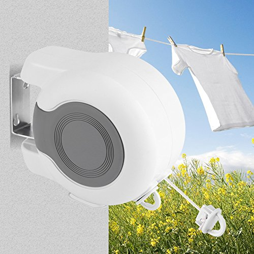 AYNEFY Clothes Line13m Heavy Duty Adjustable Wall-Mounted Retractable Double Clothes Drying Line for Indoor Outdoor Washing Landry Tool