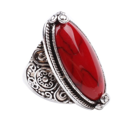 Charming 925 Sterling Silver Cubic Zirconia Ring with Red Synthetic-Turquoise Stone Size 7