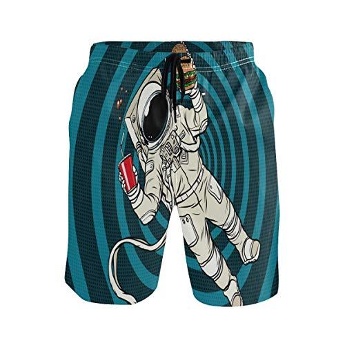 BONIPE Herren Badehose Lustige Astronaur mit Hamburger Cola Quick Dry Boardshorts mit Kordelzug und Taschen Gr. S 7-9, mehrfarbig