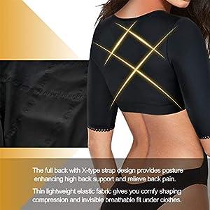 BRABIC Shaper Tops for Women Arm Compression Post Surgery Front Closure Bra Tank Top Shapewear (Black, 2XL)