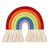 HUIJUAN Tapiz de pared multicolor de arcoíris para decoración de pared tejida a mano con borla de encaje para habitación de bebé, habitación de