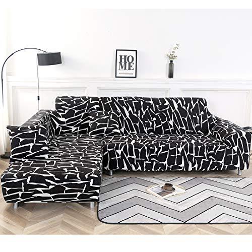 Fundas de sofá seccionales en forma de L, funda elástica para sofá de tela para mascotas, fundas de sofá de esquina modernas (gris, tres plazas + tres plazas) (negro + blanco)