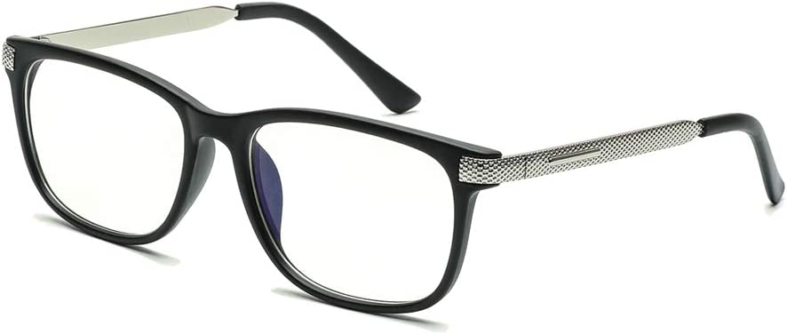 Somaer Blocking Blue Light Reading Glasses, Anti-Ultraviolet/Glare Transparent Lenses, Suitable for Men/Women Who Use Computers and Reading for A Long Time (No magnification, Matt black)
