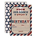 Rookie Of The Year Baseball Themed Birthday Party Invitations for Boys, 20 5'x7' Fill In Cards with Twenty White Envelopes by AmandaCreation