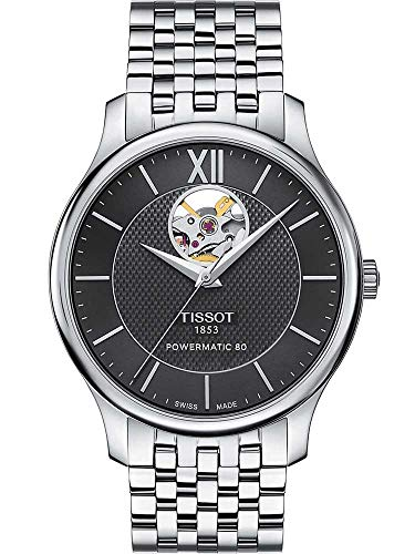 Tissot Men's Tradition Powermatic 80 Open Heart - T0639071105800 Black/Grey One Size
