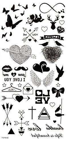 Grashine finalmente tatuaggi temporanei farfalle, cuori, frecce, Cupid, ali, i Love you, ali look like Real tatuaggi temporanei