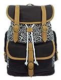 K-Cliffs Canvas Backpack Vintage School Laptop Bookbag Casual Pattern Travel Rucksack Brown
