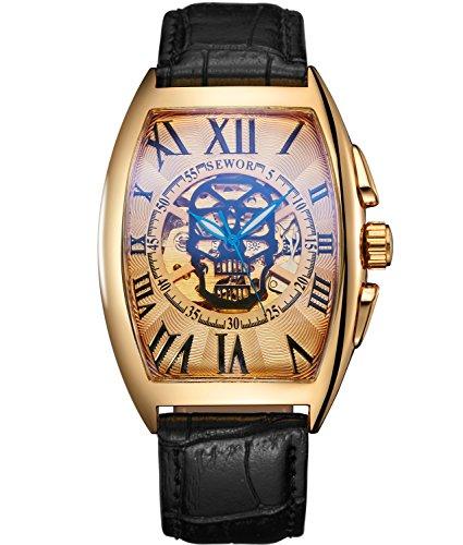 SEWOR Herren Totenkopf Kopf Automatik Mechanische Armbanduhr Leder Band Glas Beschichtung, blau … (Gold)
