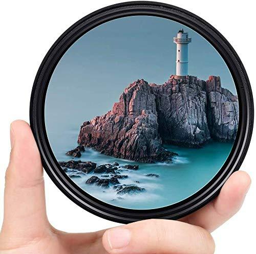 Yangers Filtro de densidad neutra variable nd 2-32 - 400 55 mm, ajustable ND2 a ND400 (8 paradas) para cámara Canon Nikon Sony DSLR con caja de almacenamiento