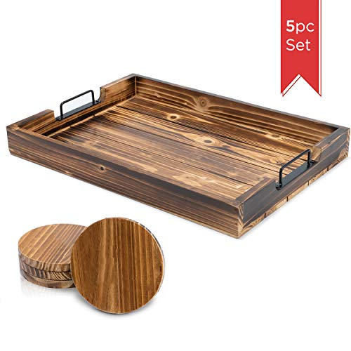 Ottoman Serving Tray Rustic Torched 17 x 13 inch with 4 Rounded Fir Wood Coasters Great for Lap, Couch, TV, Dinners, Bed + Breakfast, Coffee Tables - Decor for Homes, Restaurants Simplykitchen