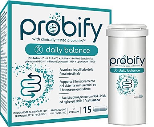 Probify Daily Balance, Probiotico con 10 mld di Fermenti Lattici Vivi Clinicamente Testati, Equilibra Flora Intestinale, Supporta Sistema Immunitario con Vitamina B, D12 e Biotina, 15 Cps Naturali