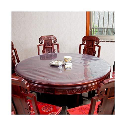 HUIHFB Wachstuchtischdecke Wachstuch Runde Kunststoff tischdecke 3,0mm Dicke PVC tischdecke klar kristall wasserdicht Vinyl Tisch Schutz für küche esstische Holz möbel Schutz